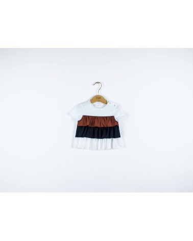 T-shirt bambina con frappe in pizzo - fronte